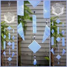 Baby Blue Vintage Glass Stained Glass Windchime by BerlinGlass #stained_glass #windchime #garden