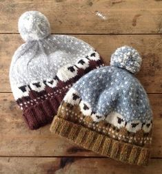 Free knitting pattern for Baa-ble Hat with sheep colorwork
