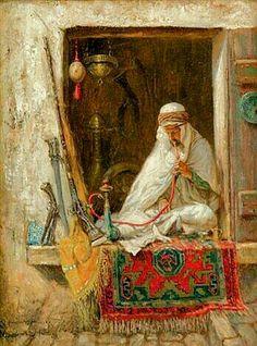 Algérie - Peintre Américain , Addison Thomas Millar (1860 – 1913), huile sur toile, Titre : Le Marchand d'antiquités