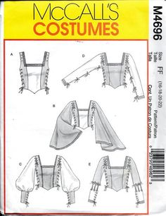 McCall's Medieval Renaissance Corset Flare Batwing Top Costume Sewing Pattern Size 12 and 14 by VintagePatternStore on Etsy Renaissance Costume, Medieval Costume, Renaissance Clothing, Renaissance Fair, Historical Costume, Historical Clothing, Vestidos Viking, Larp, Medieval Clothing