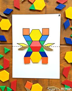 Kids will have fun learning and building with shapes while trying out the geometry ideas and resources. A FREE pattern block symmetry activity included! Symmetry Activities, Math Activities For Kids, Math For Kids, Math Games, Sensory Activities, Kindergarten Math, Teaching Math, Preschool, Art Black Love