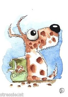 ACEO Original Watercolor Folk Art Illustration Whimsical Animal Dog Cookies | eBay