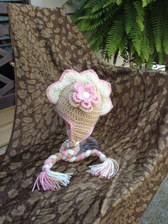 Crochet Dino Girlie Hat  NB to 3 Months  Baby Animal by lisaswick, $19.00