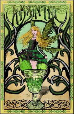 This is a mock advertisement for absinthe from the in the style of Art Nouveau stock used as a reference in this photo by MariaAmanda Green Fairy Art Nouveau Poster Art Nouveau Poster, Art Nouveau Design, Retro Poster, Poster Vintage, Fantasy Kunst, Fantasy Art, Green Fairy Absinthe, Jugendstil Design, Kunst Poster