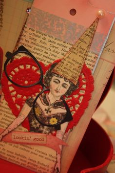 Love this layered collage tag featuring one of the cast from Cirque, art stamps from Character Constructions.