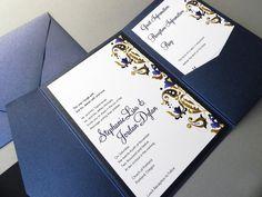 Sapphire Blue Damask Wedding Invitation Suite by sheilamaridesign, $6.00