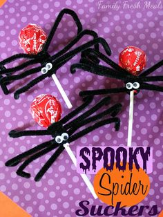 Spooky Halloween Spiders - cute to hand out at school. Dum dums are allergy-free! ;@)