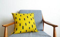 Golden Brushstrokes Linen Pillow - 18.5 x 18.5 in.