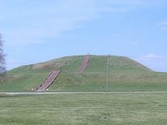 The Cahokia Pyramids, Illinois USA / 3000 BC -1000 AD/ Monks Mound is the largest Pre-Columbian earthwork in Americas. Located at the Cahokia Mounds near Collinsville, Illinois, its size was calculated in 1988 as about 30 m high, 291 m long including the access ramp at the southern end, and 236 m wide. This makes Monks Mound roughly the same size at its base as the Great Pyramid of Giza. Its base circumference is larger than the Pyramid of the Sun at Teotihuacan.