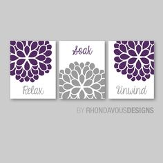 Bathroom Decor - Bathroom Art - Relax Soak Unwind - Flower Bathroom - Bath Art - Bath Decor - Purple Gray - You Pick the Size (NS-553) by RhondavousDesigns2 on Etsy https://www.etsy.com/listing/192571891/bathroom-decor-bathroom-art-relax-soak