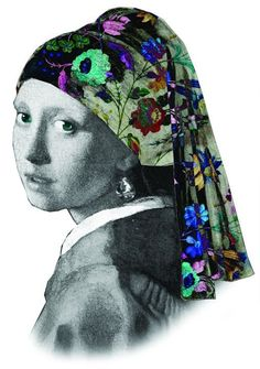 flower scarf girl with a pearl earring. Johannes Vermeer, Girl With Pearl Earring, Pearl Earing, Teen Art, Mona Lisa, Art Projects For Teens, Dutch Golden Age, Famous Artwork, Design Girl