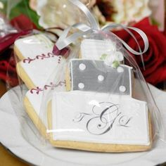 Wedding cookie favors will make you look like one smart cookie.  See more wedding cookie favors and party ideas at www.one-stop-party-ideas.com