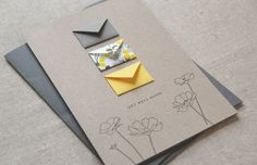 Card Size: 5 x 7 Envelope: A7 charcoal grey square flap envelope Paper: Cards printed on 80# 100% recycled, taupe brown fiber card stock. Tiny Envelope size: Approx. 1 x 1.5 Features floral hand illustrations and 3 tiny envelopes each with a tiny blank card for writing your own