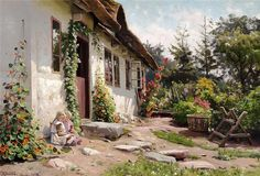 Peder Mork Monsted - A Cottage Garden with Chickens. Peder Mork Monsted - In The Garden, 1937 Peder Mork Monsted - Summer Day In . Paintings I Love, Beautiful Paintings, Farmhouse Garden, Enjoy The Sunshine, Traditional Landscape, Ancient Art, Old Houses, Home Art, Landscape Paintings