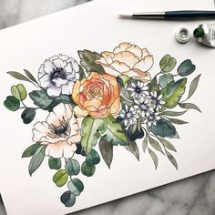 CUSTOM WATERCOLOR FLOWER Bouquet // Original Design Anemone Poppy Rose Peony Asters and Eucalyptus Lambs Ear Greens by TheMintGardener