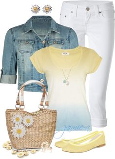 """Yellow, Blue & Daisies Too"" by jaimie-a on Polyvore"