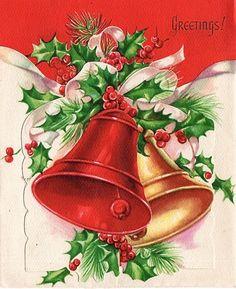 Bells and holly -vintage - Greetings