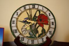 Another piece clock that was simplified. Should have been more pieces. What can I say, I'm a glutton for punishment. Glutton For Punishment, Wall Watch, Stained Glass Patterns, Suncatchers, Hobbies, Resin, Clock, Wire, Home Decor