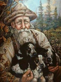 Hunter & His Blue Tick Pups Painting Hog Dog, Dog Cat, Hog Hunting, Rabbit Hunting, Bluetick Coonhound, Walker Coonhound, Blue Tick Beagle, Walker Hound, Antique Pictures