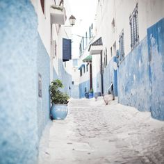 Blue & white pahtway buildings Greece