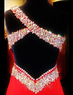 Red Jersey One Shoulder Prom Dress-Beaded Sweetheart Neckline-Low Sexy Back-Train-115EC0152100412