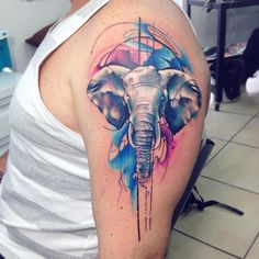 Stunning Watercolor Tattoos By Adrian Bascur Kickass Things - One Of The Best Watercolor Tattoo Artists That Weve Seen Is Adrian Bascur Full Of Talent And Boldness His Work Is Certainly Worth Knowing A Versatile Tattooist From Chile Adrian Creates Real Watercolor Elephant Tattoos, Cute Elephant Tattoo, Elephant Tattoo Design, Colorful Elephant Tattoo, Small Elephant Tattoos, Watercolor Tattoo Words, Watercolor Mandala, Mandala Elephant, Aquarell Tattoo Elefant
