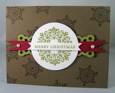 Lace ribbon border punch as a layering piece for Christmas cards.