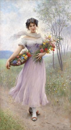 I really like the bright colours of the flowers surrounded by the serene and soft pastels of most of the rest of the colours in this picture...Flower girl by Eugene de Blaas. Italian (1843-1932)
