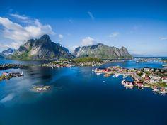 Norway - Lofoten islands - Reine - Picturesque fishing town Reine on Lofoten islands in Norway, scenic aerial view