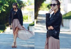 Street Stylers Show Us How to Wear the High Low or Mullet Hemline Skirts: 15 Ways to Wear the Trend Buy Leather Jacket, Chiffon Skirt, Pleated Skirt, High Low Skirt, Asymmetrical Skirt, Spring Street Style, Autumn Winter Fashion, Autumn Style, Winter Style