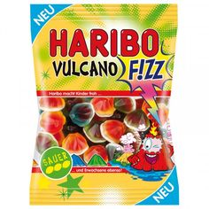 """Haribo Vulcano F!ZZ"" is sweet on the outside and internally sour with a liquid lava core. In addition to the taste lemon, there are now also kiwi and blood orange. Always in combination with the super-acid apple filling. Probably the..."