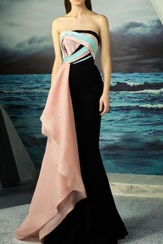 MNM Couture Strapless Colorblock Gown Evening Dress | Poshare
