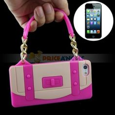Fashionable Apple iPhone 5 Silicone Case Cover Pouch with Handbag Wallet Bag Style Pink : Video Games Accessories Wholesale