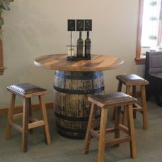 "Amish Crafted out from a reclaimed ""whiskey barrel"".  This table would look great in your man-cave, bar,  lodge or office.  Use your imagination!  What a conversation starter!"
