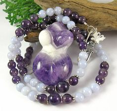 Venus Butterfly Fertility Necklace - Amethyst & Blue Lace Agate