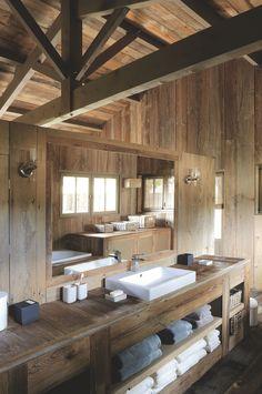 A wooden house in Cap Ferret, France Cabin Homes, Log Homes, Chalet Design, House Design, Chalet Interior, Cabin Bathrooms, Cabin Interiors, Wooden House, Bathroom Interior