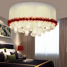 Modern Fabric Crystal Living Room Ceiling Lamp Romantic Led Bedroom Ceiling Lamp Dining Room Ceiling Lamp