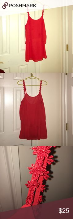 Low back orange-red dress Bought from Lulu's. Low back dress with flowered straps. Is an extra-small but fits a little big. Only worn once to a function.    Can be both dressed up or dressed down✨ Lulu's Dresses Backless