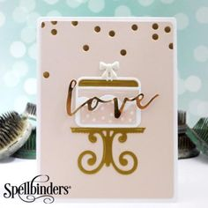 Golden Love Card - Scrapbook.com - Perfect die cutting from Spellbinders on this lovely wedding card!