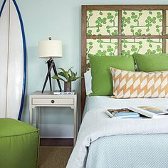 Find the Pattern  Brewton upholstered a traditional headboard in a lively, graphic print for the boy's room, a juxtaposition that brings a...