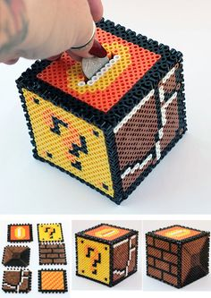 40 DIY Gift Surprise Ideas for a Gamer Boyfriend or Girlfriend – Build a Mario Bros Bank Yourself for Your Gamer Guy – 40 DIY Gift Surprise Ideas f… - diy gifts for boyfriend, handmade gift ideas for friends, giftcraft, unique gifts diy, handmade gift ide Perler Bead Designs, Pearler Bead Patterns, Diy Perler Beads, Perler Bead Art, Perler Patterns, Hama Beads Mario, Loom Patterns, Hamma Beads 3d, Pearler Beads
