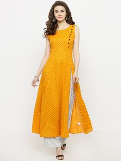 Buy Sera Yellow Printed Kurta with Palazzo online in India at best price.kurta with palazzos Yellow and white anarkali calf length kurta, has a round neck, sleeveless, straight Printed Kurti Designs, Simple Kurti Designs, Churidar Designs, Kurta Designs Women, Indian Kurtis Designs, Latest Kurti Designs, Dress Neck Designs, Designs For Dresses, Kurta Patterns