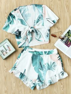 Tropical Print Knot Front Blouse And Shorts Set