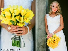 wedding flowers | yellow tulips | calla lilies | black & white