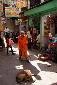 Colorful Street View. Varanasi