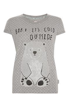 Primark - Graues Pyjamaset mit Eisb�renmotiv