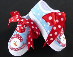 SNOWMAN HAND PAINTED SHOES. Sweetest Creations Boutique