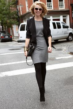 Love the grey dress with Black tights and shoes...yummy. rw