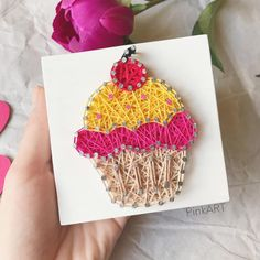 """151 Likes, 15 Comments -  StringART• КЛЮЧНИЦЫ ФОТОФОНЫ (@pink_art_134) on Instagram: """"Всем приветики✌ Вкусненький капкейк к чаю или к кофе готов Эта миниатюрная сладость отлично…"""""""