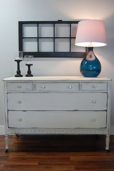 LOVE this one. Antique dresser, painted in Old White by Annie Sloan with a distressed finish and clear wax. The antiqued glass knobs take it over the top! Nursery? Dresser/changing table? Dining room buffet? Television stand for a family room? So many options. www.atlantashabbychic.blogspot.com www.facebook.com/atlantashabbychic #anniesloan #morethanpaint